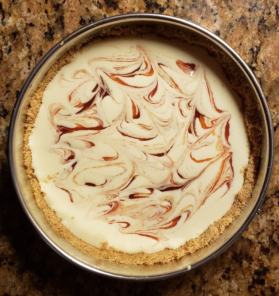 swirl cheesecake batter